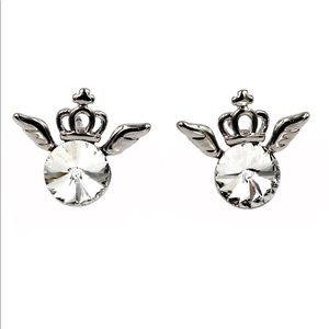 Silver mini crown and crystal earrings